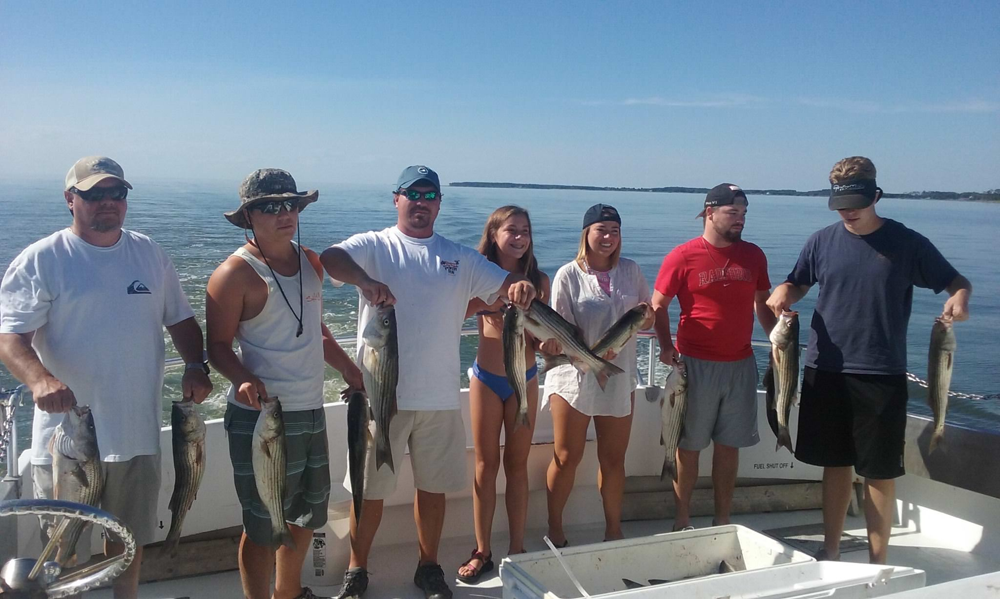 Chesapeake Bay Charter Fishing Action For Striped Bass!
